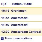 Tussenstations via NS reisplanner